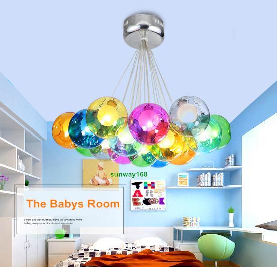 Moderner Kristallleuchter Bunte Glaskugel LED Hngende Lampe Fr Esszimmer Wohnzimmer Bar G4 Fhrte Birne Wechselstrom