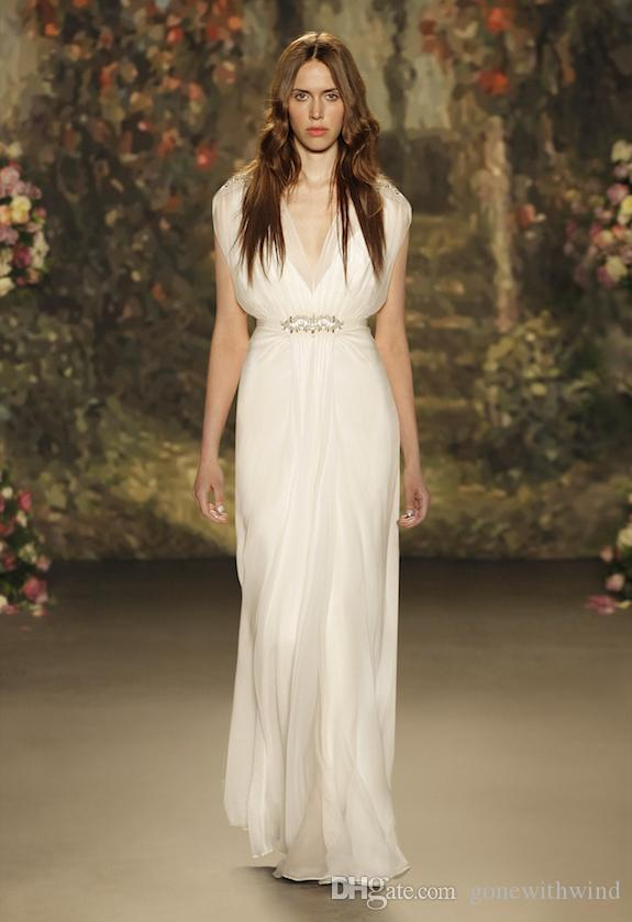 Simple White Silk Wedding Dresses 2017 Bridal Gowns Sheath Pleats V ...