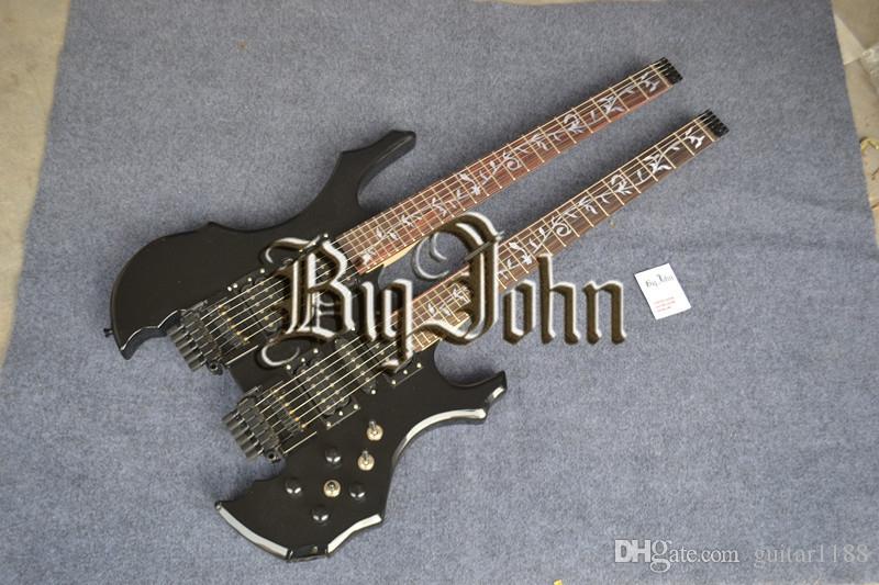 Ücretsiz kargo yeni Büyük John çift boyun başsız elektro gitar basswood vücut ile siyah + köpük kutusu F-3141
