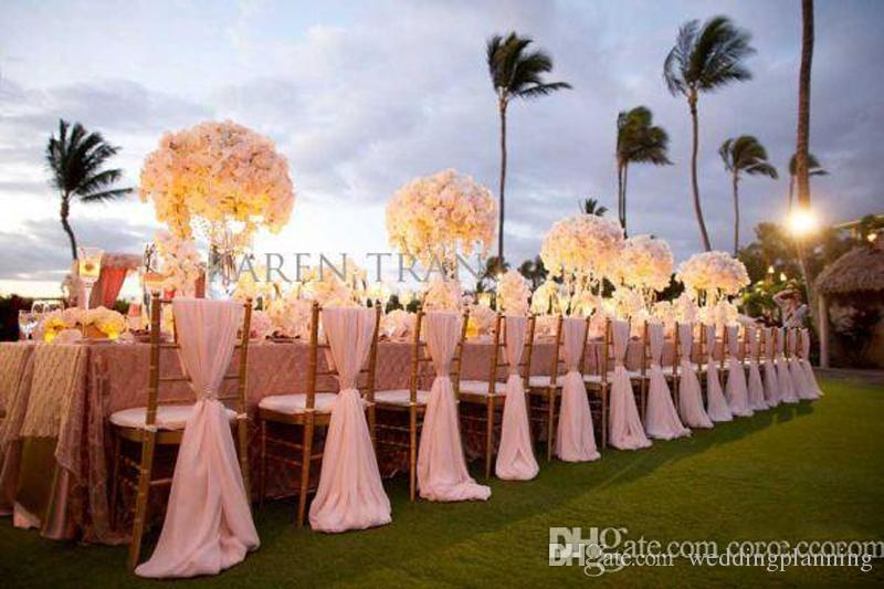2017 Popular Simple Elegant Chair Sashes Royal Chiffon Wedding Banquet Romantic Bridal Party Chair Back Cover Decoration Wedding Favors