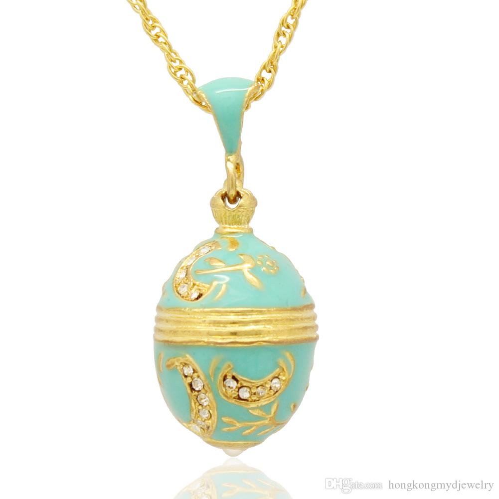 공예품 에나멜 분지와 꽃 펜던트 참 목걸이 Faberge Egg STYLE 펜던트