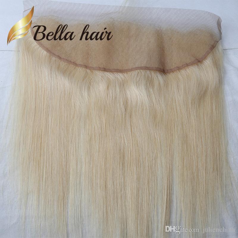 Bella Hair®10A Bal Sarışın Hint Düz İnsan Saç Dokuma Demetleri Ile 13 * 4 Frontal Kapatma Bebek Saç Sarışın Uzatma Ile # 613 4 adet / grup