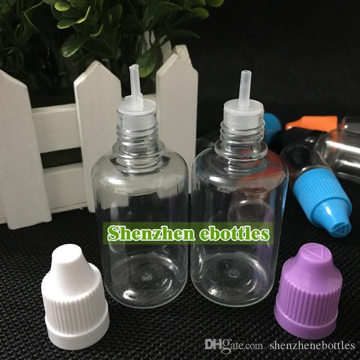 Schneller Versand Flaschen PET-Flaschen 30ml Eliquid Empty Bottle PET-Kunststoff-Tropfflaschen mit Kindergesicherte Verschlüsse und lange dünne Nadelspitzen
