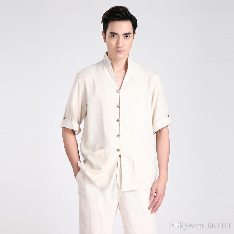 Half Sleeve Tang suit Men Chinese Traditional clothing Kung Fu Shirt mandarin collar Chinese Shirt Linen Chinese Top