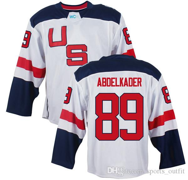 Men's Team USA #89 Justin Abdelkader White 2016 World Cup of Hockey Game Jersey