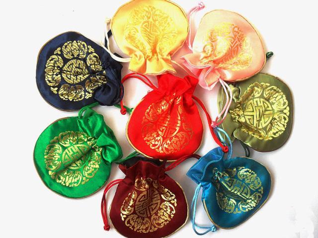 Bunte Joyous Kordelzug Kleine Geschenk Taschen Schmuck Beutel China Stil Seide Brokat Geburtstag Partybevorzugung Beutel Großhandel