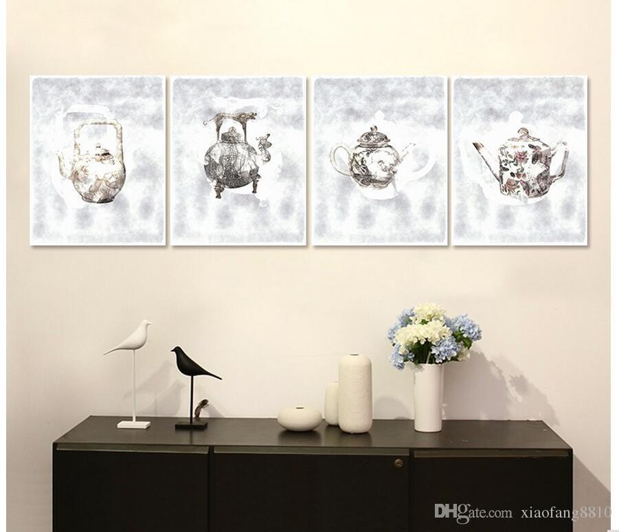 Noch zeichnung 4 stücke Stillleben Dekoration wind wasserkocher Flasche Leinwand Malerei wandkunst bilder wohnkultur ungerahmt hochzeit decora