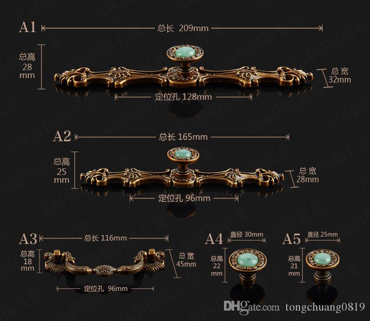 "128mm 96mm creative retro furniture handles green emerald drawer cabinet pulls knobs 5"" antique bronze dresser door handle knob"