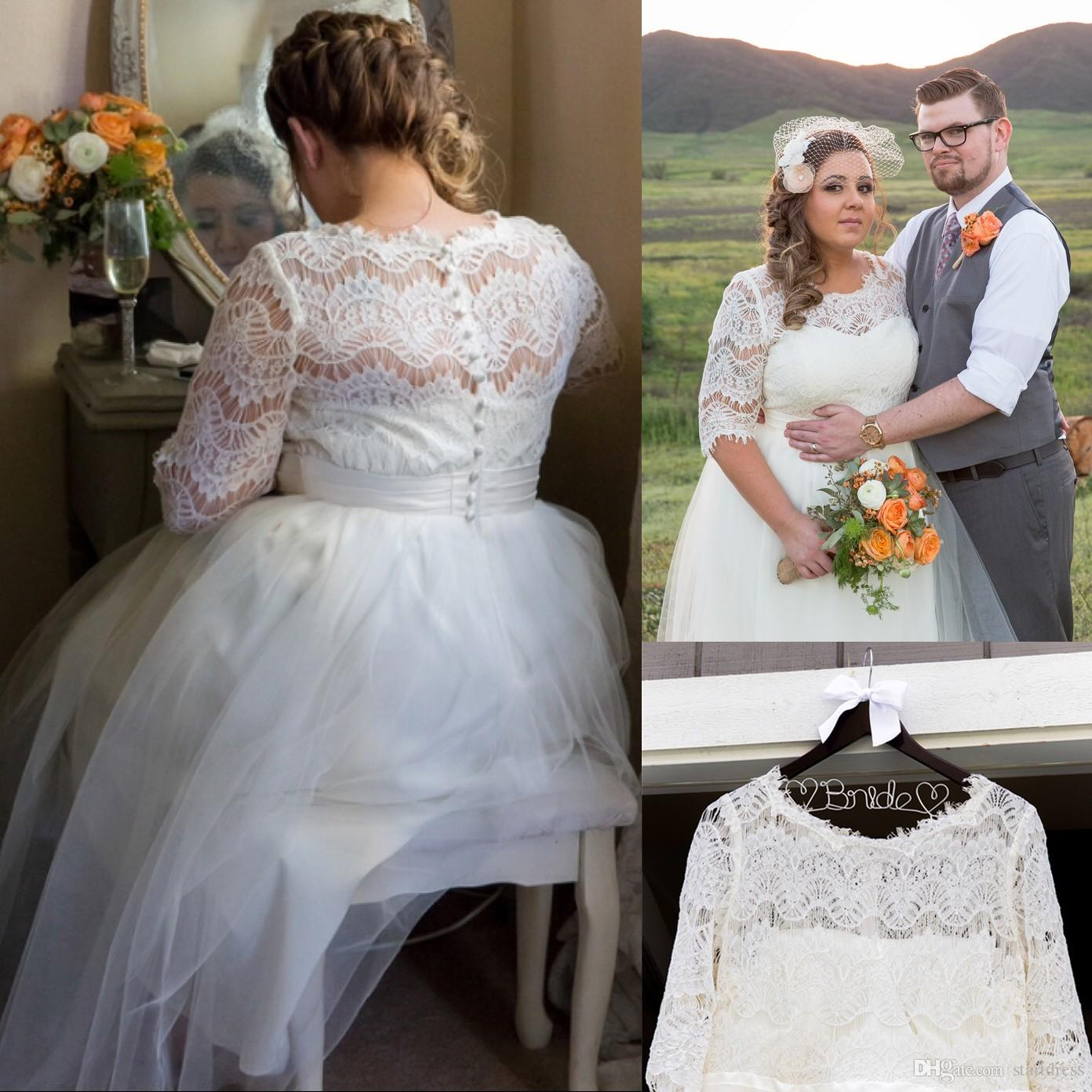 Discount White A Line Plus Size Wedding Dresses Jewel Tulle Lace Country  Wedding Dresses Vintage Modest Wedding Dresses With Sleeves Robe De Mariée  A ...