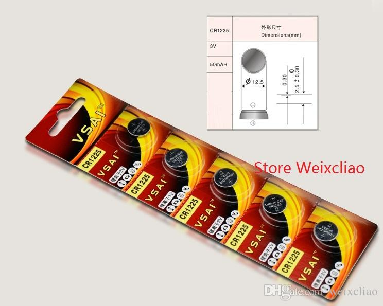 1 lote CR1225 3V batería de botón de litio li ion CR 1225 3 voltios li-ion monedas baterías VSAI Envío Gratis