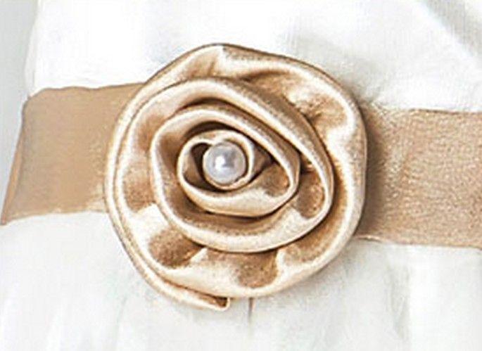 Exquisite handmade embroidered flower girls' dresses kids formal wear golden color round neck invisible zip design