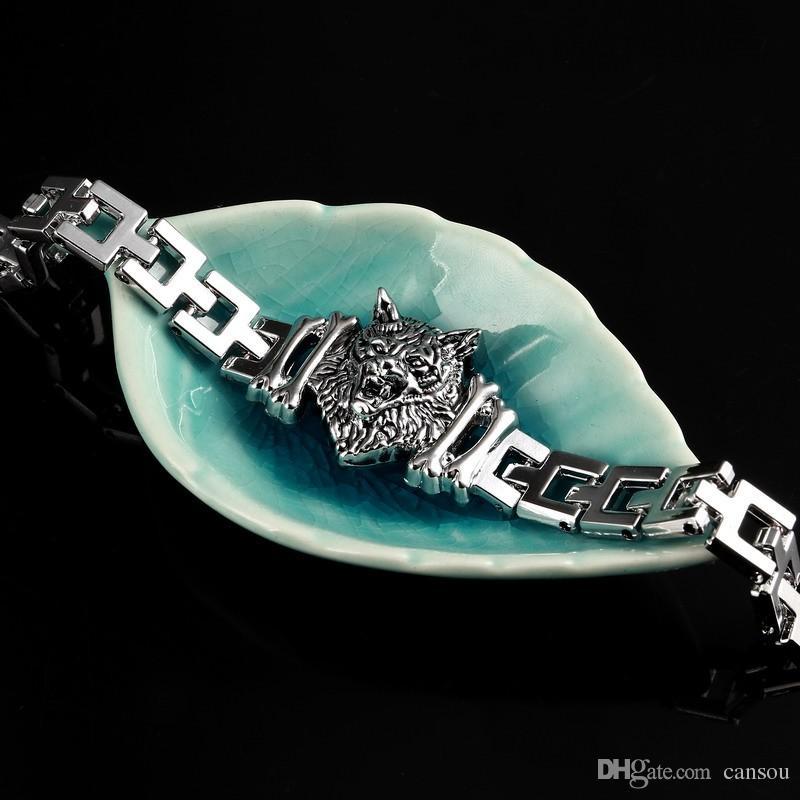 جديد وصول الرجال ستانلس ستيل سوار البيزنطية نمط رجال مجوهرات اكسسوارات ذكر ليوبارد وولف رئيس سحر معصمه