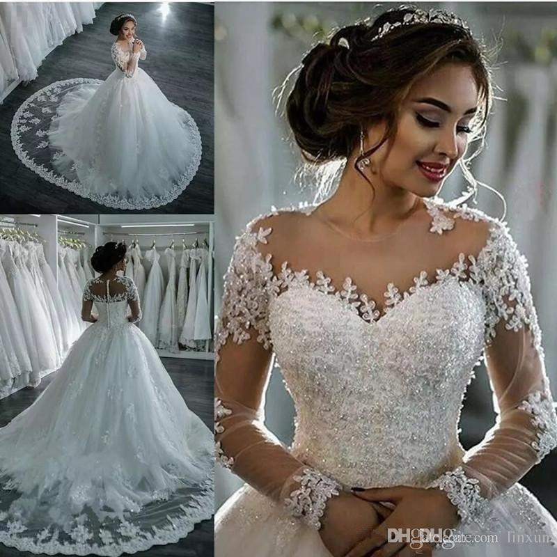 Suosikki 2017 High Low Short Front Long Back Beach Wedding: Discount 2017 New Dubai Elegant Long Sleeves A Line