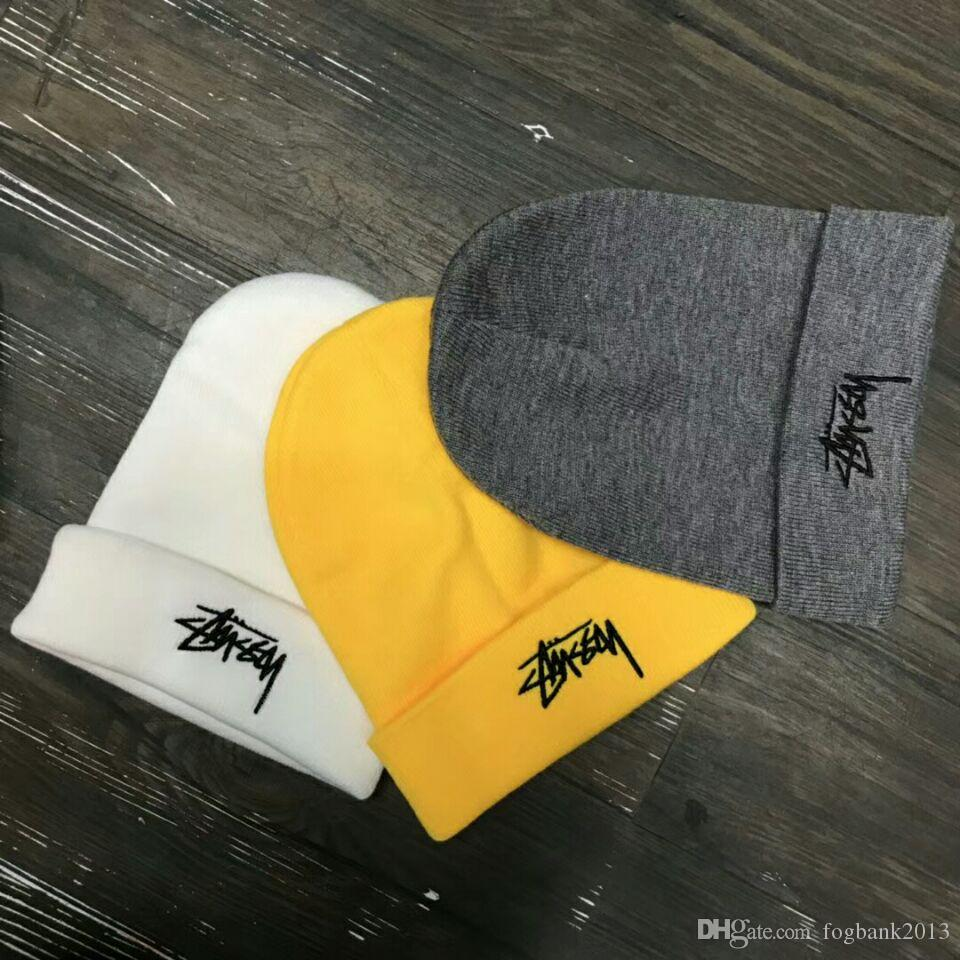 Männer Frauen Winter Mütze Männer Hut lässig Strickmützen Hüte Männer Sport Kappe schwarz grau weiß gelb Höhe Qualität Schädel Kappen