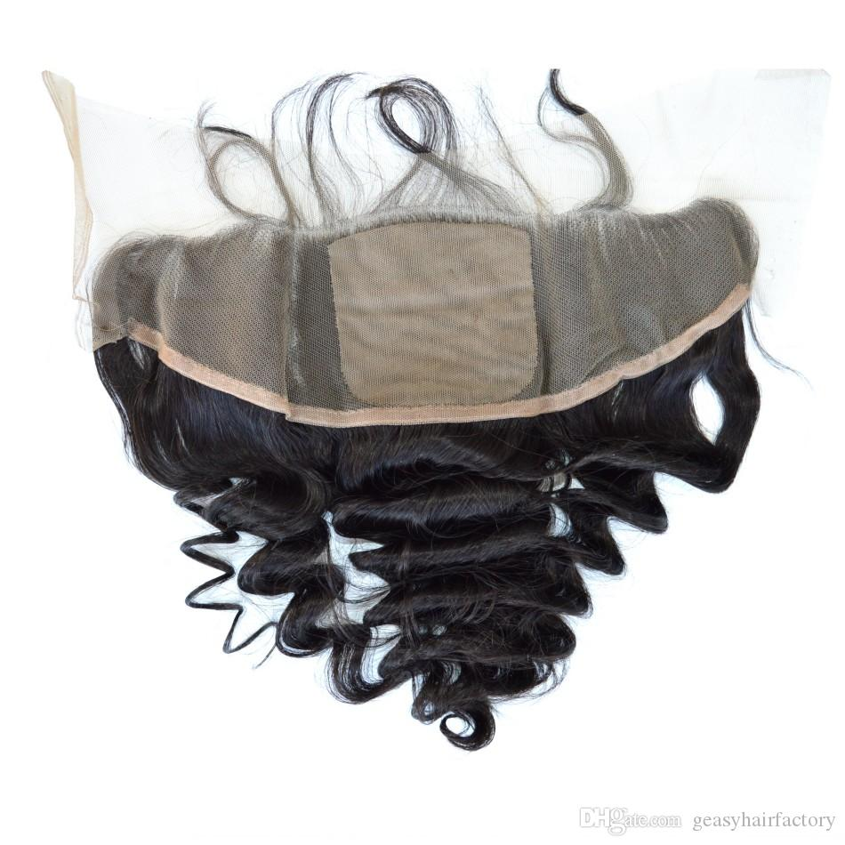100% human hair brazilian human hair loose wave 4 bundles with silk base lace frontal closure no shedding no tangle LaurieJ Hair