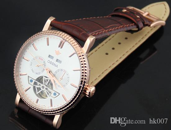 1602 Ossna 40mm White Dial PVD Rose Gold Stainless Steel Case Multifunction Auto Watch Gift For Men