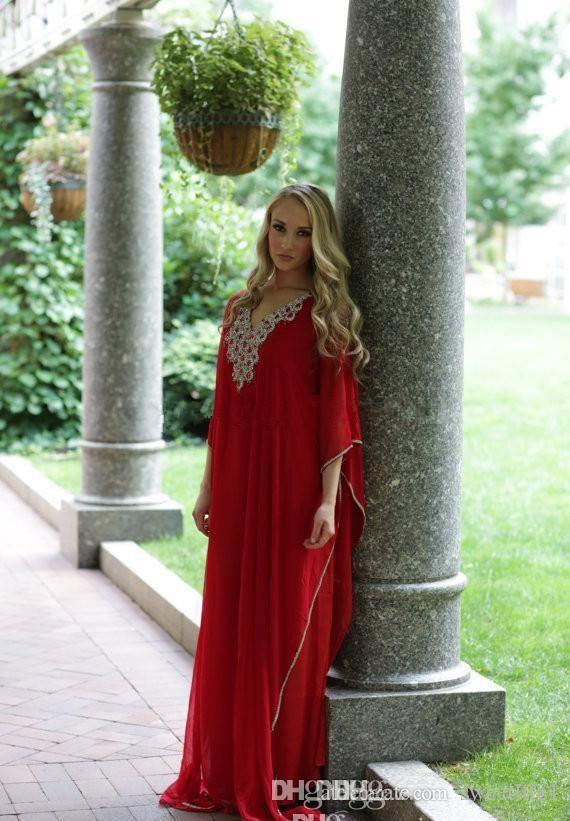 Red Kaftan Arabischen Stil Abendkleider Nahen Osten V-ausschnitt Dubai Perlen Langarm Abaya Muslim Formales Abschlussball-kleider Plus Größe Partei Dressess