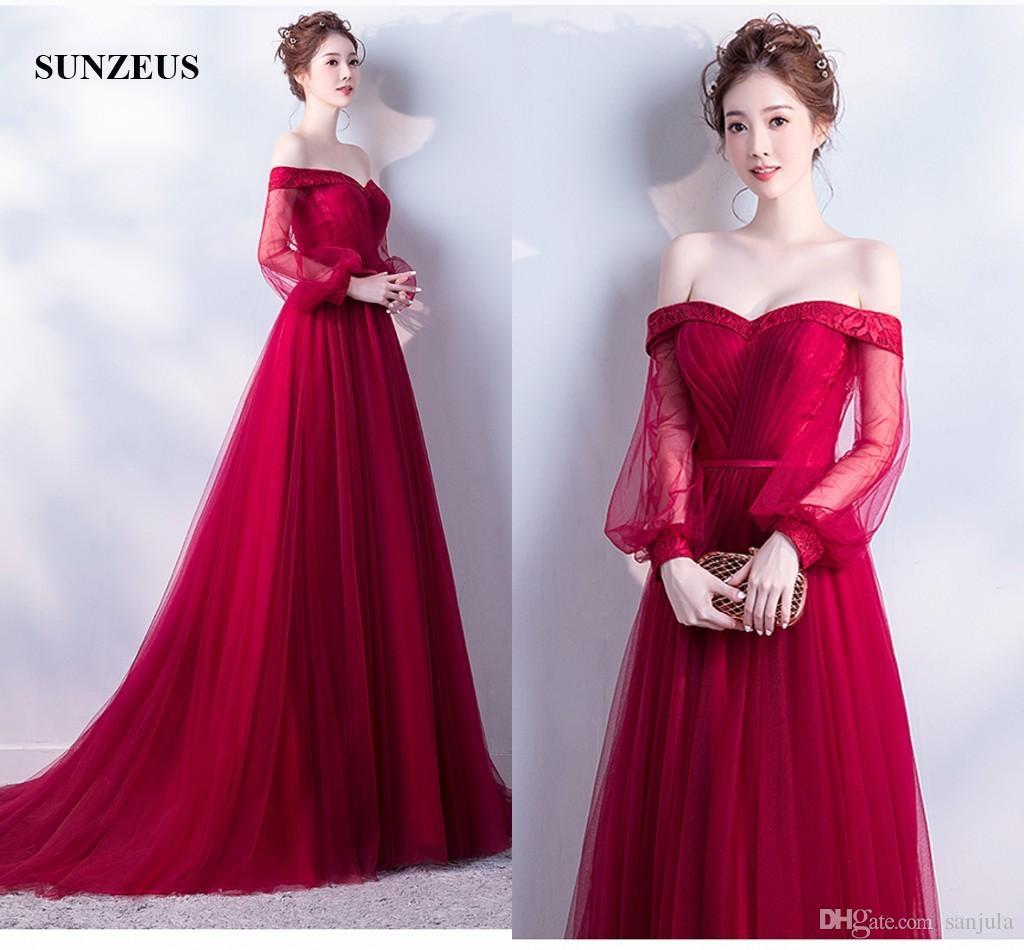 Off Shoulder Lantern Sleeve Burgundy Evening Dresses Long ...