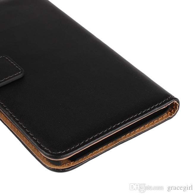 For LG Stylo 2 Stylus LS775 Huawei Honor V8 5C Genuine Wallet Leather Case Real Stand Card Money Pouch Smooth Black Skin Cover Luxury
