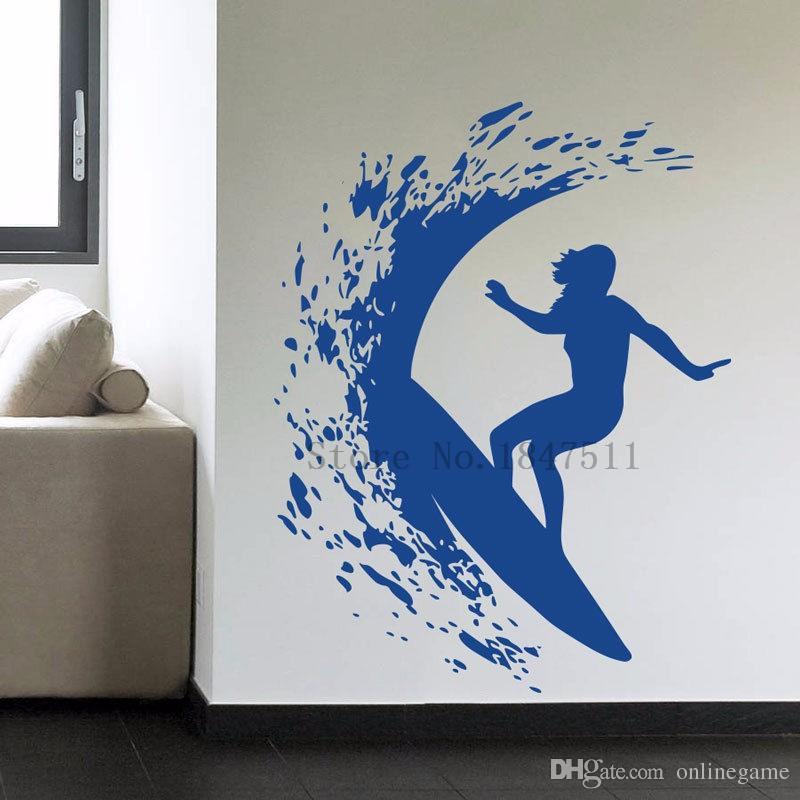 Pegatinas de pared Tatuajes de Arte Decoración Vinilo DIY decoración del hogar Art Poster Tatuajes de pared Vinilo Mural Surfer Girl Mujer Surf 62 * 80 cm