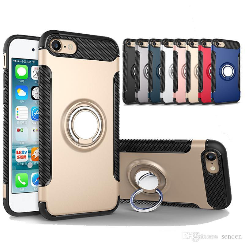 Hybrid TPU+PC Armor Case Shock-Proof Cases 360 Ring Stand Holder Magnetic Back Cover For iPhone 8 7 6S Plus Samsung S8 S7 Edge
