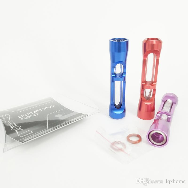Nuovo arrivo fumare Pipes Dry Herb Vaporizzatore Tubi di tabacco Tubo nano Pyrex Glass con alluminio mini Hand Pipe VS Twisty Glass Blunt OTH505