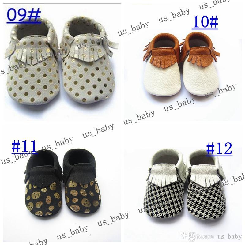 Freies Fedex UPS 49styles Baby weiche Sohle beschuht neuen Zickzackschwarz-weißen Entwurf Lederbaby Mokassins Babyleopard Moccs heißer Verkauf