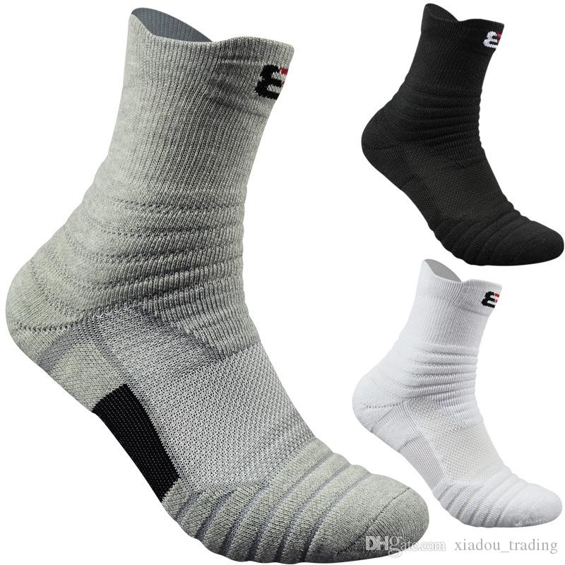 0a0df7b9741 2019 Mens Elite Basketball Socks Thickening Shock Absorber Towel Bottom Cotton  Sports Socks Outdoor Running Cycling Breathable Badminton Socks From ...