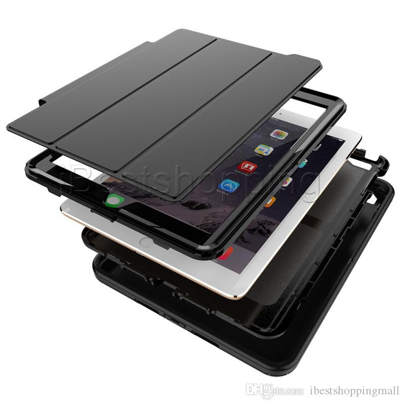 3 in 1 Hybrid Rugged Robot Defender Flip Folding Case Heavy Duty Leather Smart Stand Cover For iPad mini 1/2/3/4 air2 Pro 12.9 10.5 9.7 2018
