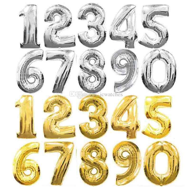 32 inç Altın Gümüş Numarası Alüminyum Folyo Balonlar Mektuplar Helyum Balonlar Doğum Günü Dekorasyon Düğün Hava Balonu Parti Malzemeleri