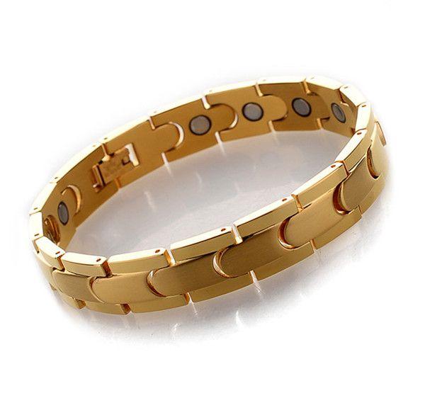 New Fashion Energy Balance Health Care Stainless Steel Gold Silver Black Bracelet Magnet Stone Bracelets Cheap Wholesale