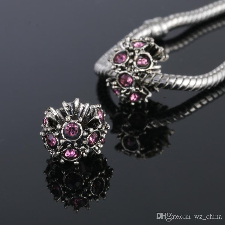 Adatto bracciali Pandora Autism Awareness Charms cuore ciondola nero / rosso / blu cristallo di fascino di puzzle gioielli fai da te collana braccialetto di ossa