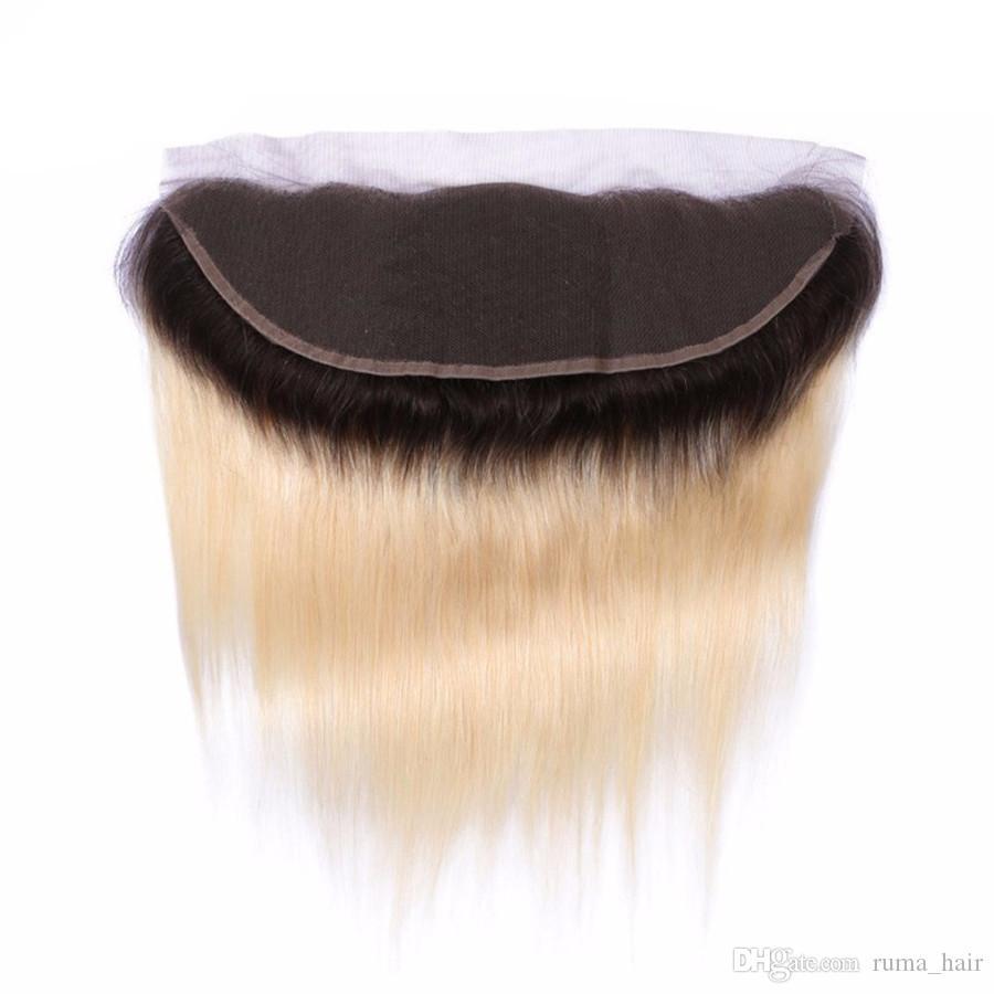 Ombre Capelli biondi con pizzo frontale 1b 613 Sliky Diritto Umano fasci di capelli Con 13 * 4 piena del merletto Frontal brasiliano del Virgin dei capelli di grado 8a