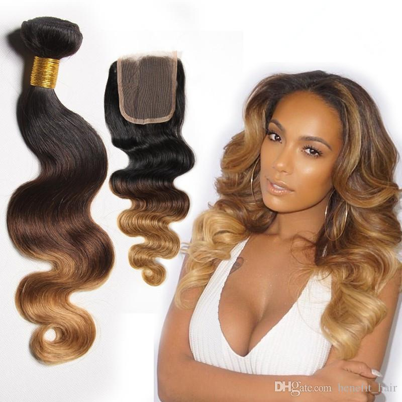 Malaysian Hair Body Wave Ombre 3 Bundles With Closure 1B 4 27# Honey Blonde Bundles Wet And Wavy Weave With Closure