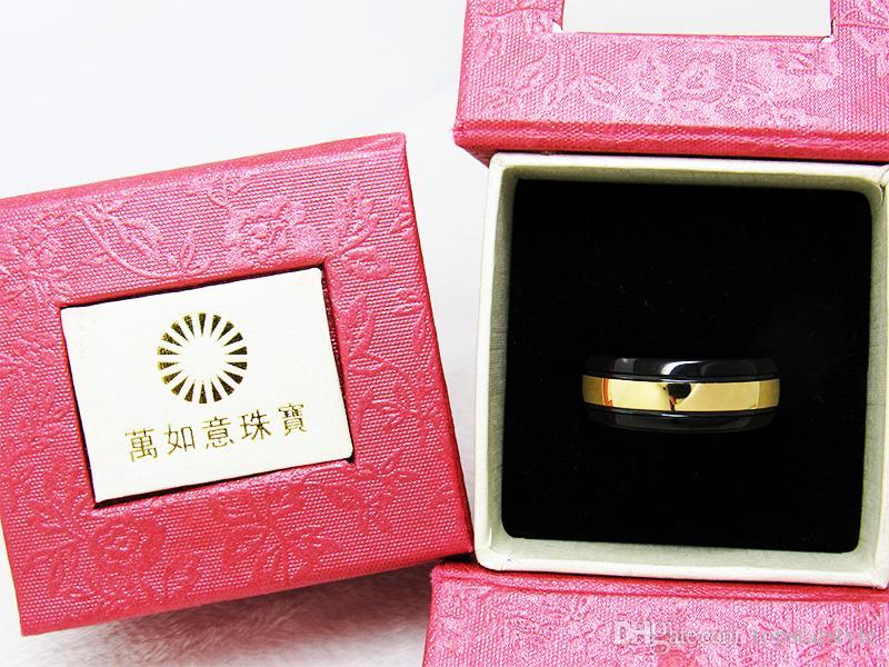 Anillo de dedo de la joyería de la manera del anillo del carburo de tungsteno del oro negro y amarillo de 8m m para los hombres
