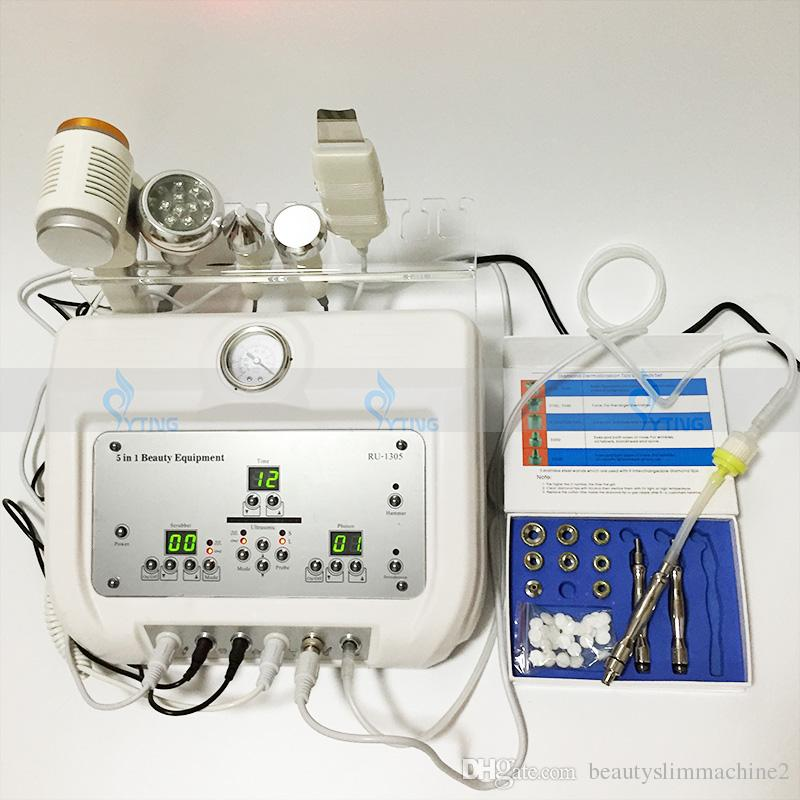 5 in 1 Elmas Mikrodermabrazyon Ultrasonik Yüz Soyma Sıcak Soğuk Çekiç Cilt Scrubber Taşınabilir Güzellik Makinesi