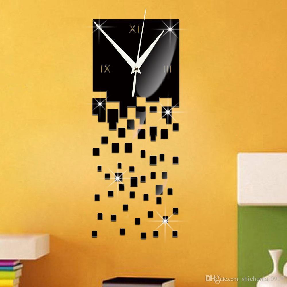 2016 Sale New Watch Gift Black 3d Modern Wall Art Acrylic Quartz ...