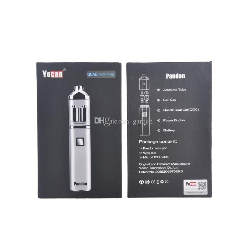 Authentic Yocan Pandon QUAD Wax Pen Starter Kit 1300mAh Battery 2 QDC Coils Tank vaporizer Kits 100% genuine DHL Free 2204028