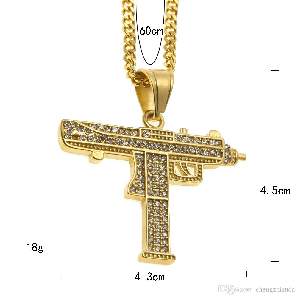 Hip Hop Gun Kolye Kolye 18 K Altın Gümüş Kaplama Buzlu Out Cz Diamonds Charm Kolye Güzel Kalite Küba Zinciri