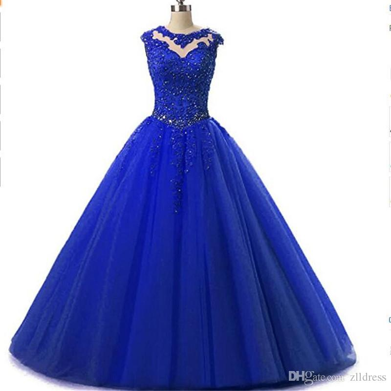 2017 Royal Blue Tulle Ball Gown Quinceanera Dresses Sheer Appliqued Lace Real Photo Special Occasion Party Dress