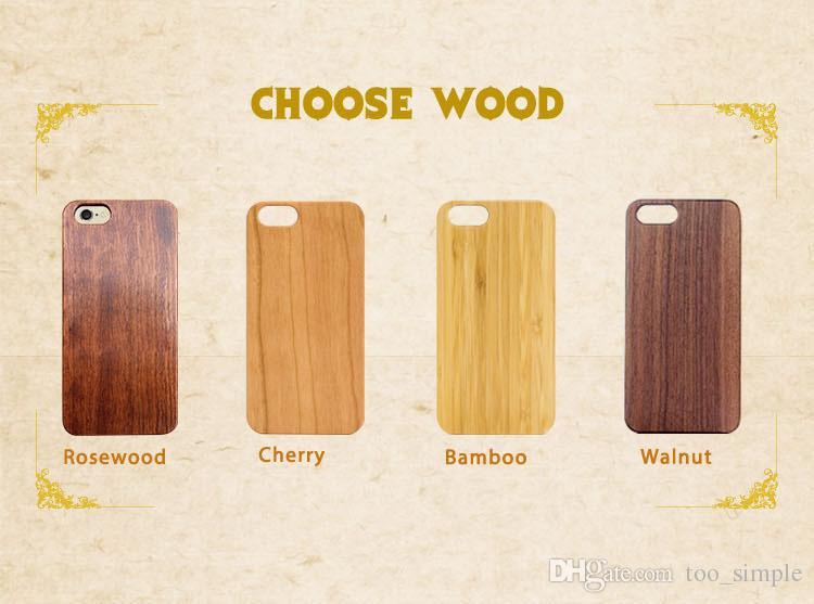Moda de madera Genuino real de madera natural de bambú 3D alivio duro cubierta para Samsung Galaxy S7 S7edge S6 S6edge S5 casos