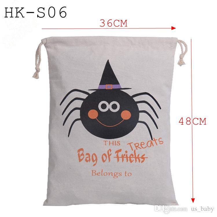 هالوين قماش أكياس للأطفال أكياس التسوق القطن حقيبة الرباط مع القرع، الشيطان، طباعة هالووماس حقائب هدايا كيس 6styles