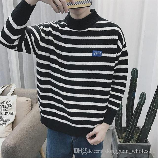2019 Mens Knitted Striped Sweater Men Casual Outwear Coarse Wool Pullovers  Homme Black White Vintage Fashion Oversized Sweaters Man From Vrvision,