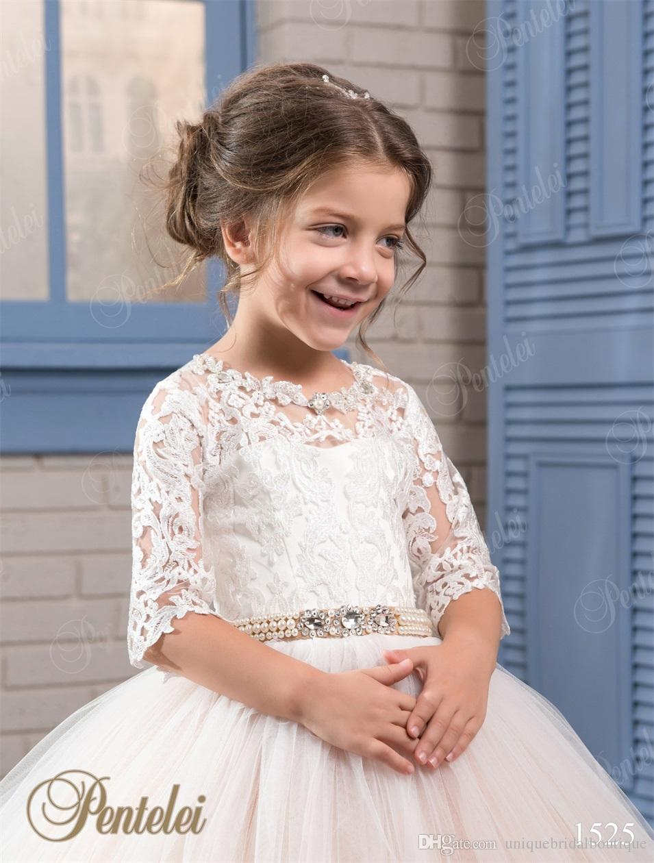 Cheap Flower Girls Dresses 2021 Pentelei with 3/4 Long Sleeves and Lace-Up Back Appliques Tulle Ballgown Little Girls Gowns for Party Prom