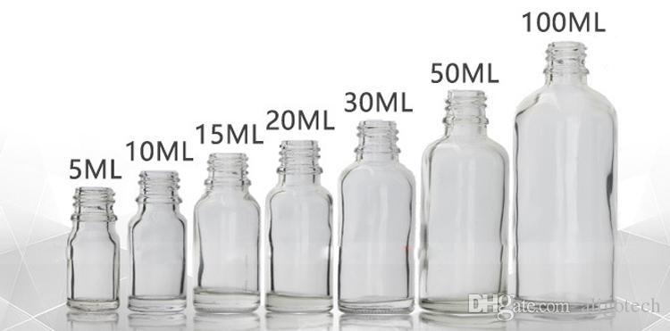 Lote al por mayor Botellas de aerosol de vidrio transparente 10ml 15ml 20ml 30ml 50ml 100ml Botellas recargables portátiles con atomizador de perfume Cap negro Sin DHL