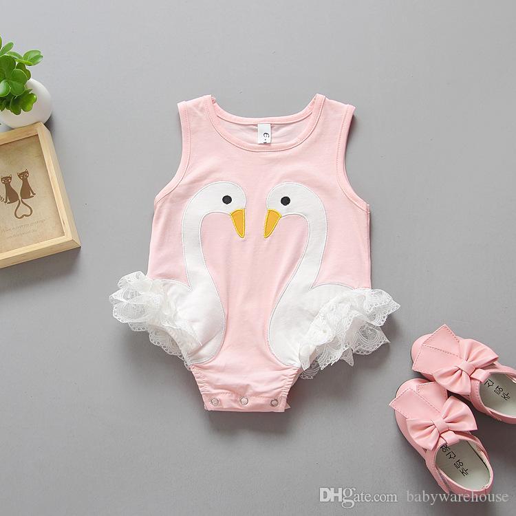 Ropa recién nacida Mameluco lindo Patrón de cisne del bebé Trajes de una pieza Bebé Niñas Encaje Monos Verano Ropa de bebé Escalada Body Babysuit