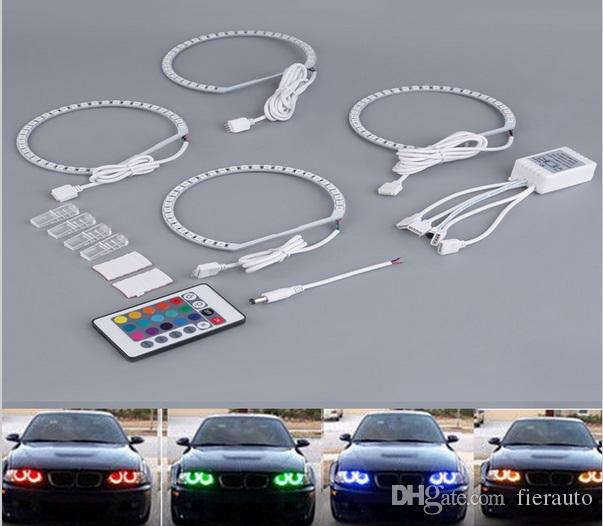 4*131mm RGB LED Angel Eyes Light Multi-Color Halo Ring for BMW E39 E46 M3 E36 E38 With Remote