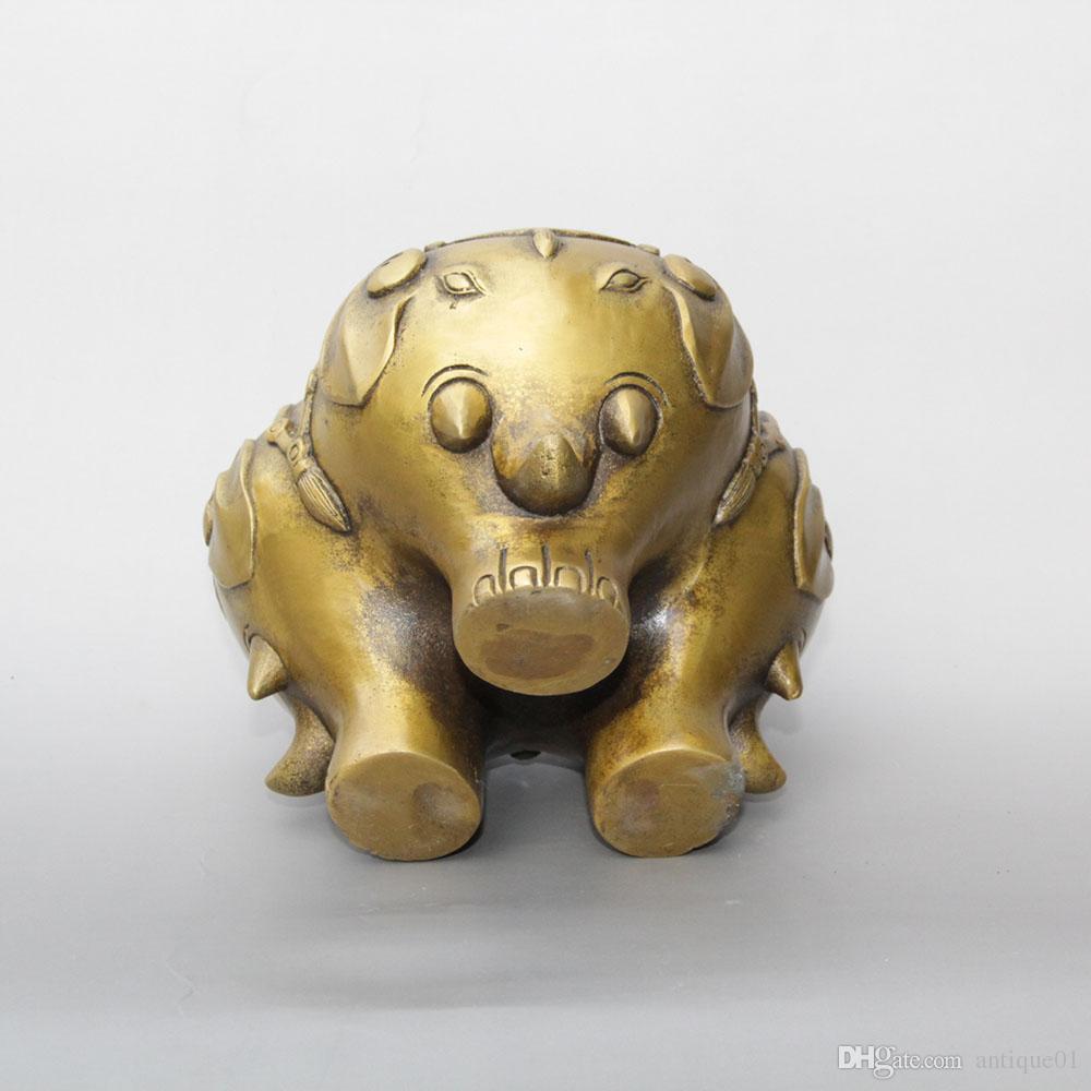 Folk chinese Buddhism brass Auspicious elephant head statue incense burner Censer home decoration