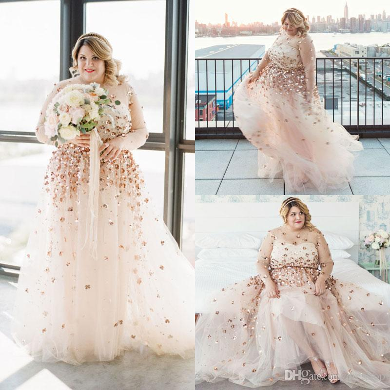2019 Plus Size Wedding Dresses With Long Sleeves Floral Sequined A-Line  Beads Sheer Jewel Neck Bridal Gowns Floor Length Tulle Wedding Dress
