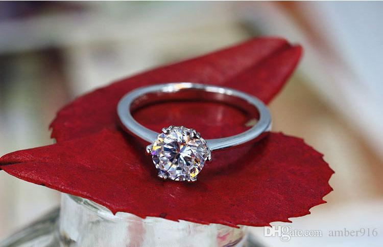 Luxury Noble Classical 925 Sterling Silver Rings New High Qulity Gold Plated 1CT Swiss Diamond Rings For Women Luxury Wedding Jewelry89
